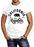 Neverless Stylishes Herren T-Shirt California Republic Slim Fit Weiß XL