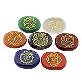 7pcs Piedras Ovaladas de Cristal de Palma Energía Reiki Yoga