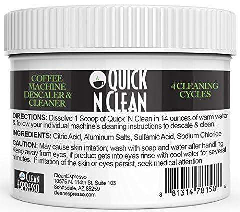 Nespresso machine détartrant et nettoyant par Quick 'n Clean (4utilise, une alimentation de