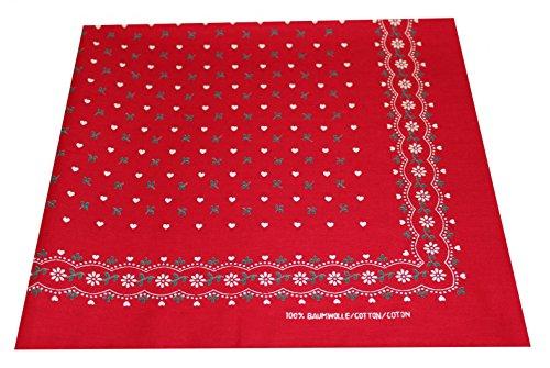 Preisvergleich Produktbild Tobeni 548 Bandana Nickituch in 100 Baumwolle für Damen und Herren Farbe Herzen Rot Grösse 54 cm x 54 cm