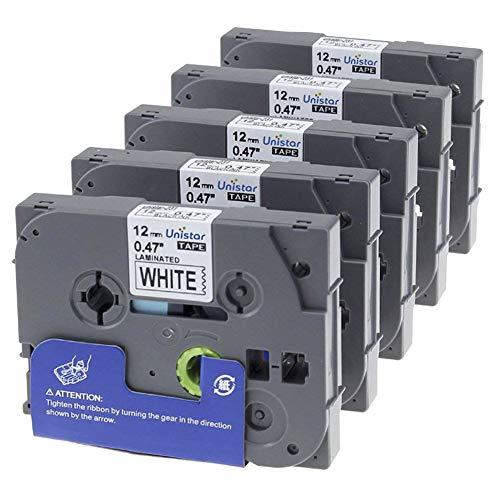 5 x TZe-231 Tape Cassette Cassetta Nastro Laminato/Nero sur Bianco / 12mm x 8m / Compatibile per Brother P-Touch GL100 PT200 PT1000BM PT1010 1830VP 2030VP 2100VP 2430PC 2470 2730VP 7100 VP7600VP