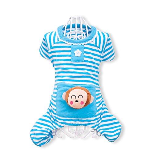 PETCUTE Niedliche Hundekleidung Pyjamas Weiche Baumwollkleid Overall Vier-Bein Jumpsuit Haustierkleidung Für Herbst Herbst Winter Blau