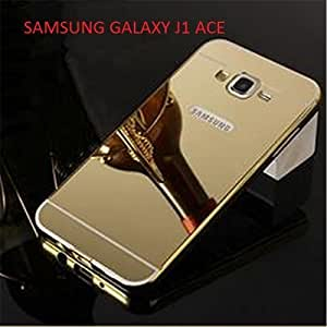 Rockxy™ Luxury Mirror Effect Acrylic back + Metal Bumper Case Cover for SAMSUNG GALAXY J1 ACE Golden