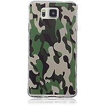 Para Samsung Galaxy Alpha / G850 Funda Carcasa, Ougger Cool Camuflaje Color Delgado TPU Caucho Silicona Claro Protector Bumper Ligero Piel Tapa