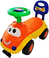 PrimeKart Baby Doodle Ride-on Car with Musical Horn for Kids (Orange & Yellow)