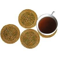 Rudra ® Set di 4 a mano perline multicolore Tea Coasters - tovagliette per il tè Coppe 4 pollici - Set di Drink Coaster assorbente - Regalo di Natale con Portachiavi in ??legno
