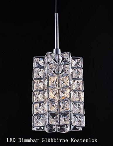Smart Lighting-shupregu 1 ampoule suspendu de lustre style mini & Leuchten Suspension pour cuisine – Cristal Ø : 12,5 cm x 17 cm, hauteur totale : 167 cm LED Ampoule Inclus