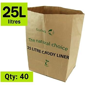 25 litre x 40 paper compostable bags kitchen caddy liners. Black Bedroom Furniture Sets. Home Design Ideas