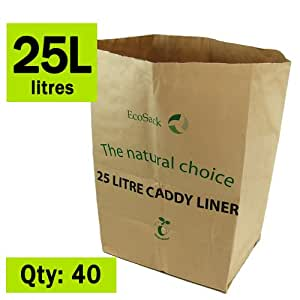 25 Litre X 40 Paper Compostable Bags Kitchen Caddy Liners