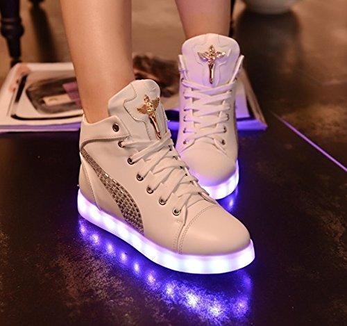 Dayiss Damen Hohe Sneaker Weiß USB Aufladen LED Leuchtend Fasching Partyschuhe Sportschuhe Turnschuhe Laufschuhe Weiß mit Strass