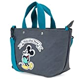 ililily Disney Mickey Mouse Patch Cotton Canvas Shoulder Small Handbag, Dark Grey