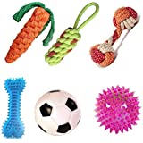 Kiki N Pooch Puppy and Dogs Chew Rope Squeaky Teething Toys | Carrot | Dummy | Rope Dumbbell | Led Ball | Squeaky Football |