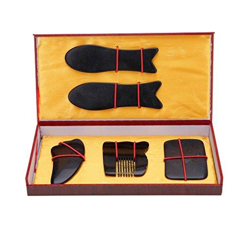 Andux Zone Buffalo Horn Gua Sha-Massage-Werkzeug Gua Sha Vorstand (fünf-teiliges Set) GSB-01