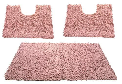 Set tappeti bagno, morbido confort tappetini in cotone, colori assortiti, 100% cotone, pacco da 3, dimenssione 50x80 cm, per wc e water forma rettangolare 40x50 cm, rosa