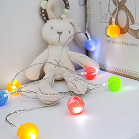 Battery Operated Mini Bulb Effect Fairy Lights, 10 Warm White LEDs by Festive Lights (Marble)