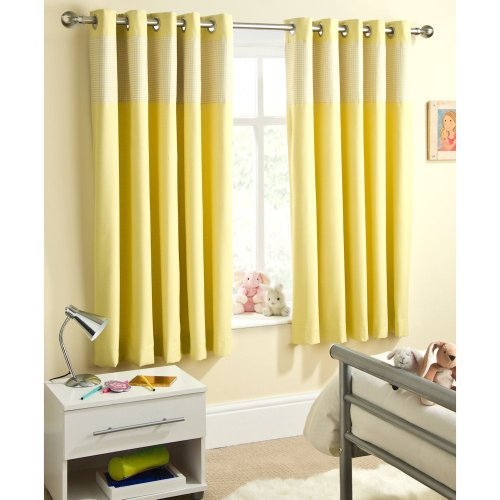Enhanced Living Curtain Panel (Set of 2) Size: 117cm W x 137cm L, Colour: Yellow