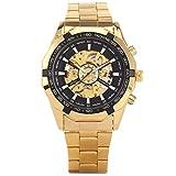 XLORDX Mode Herrenuhr Mechanische Automatik Uhr Skelett Gold Edelstahl Armbanduhr Sportuhr Schwarz