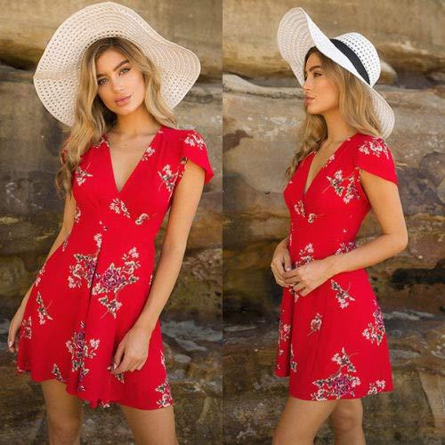 CEGFXCSW Kleid Mode Lässig Frauen Damen Kleider Sommer Ärmellose Blumen Abendgesellschaft Strand Kurze Mini Sonne Kleid Rot Weiß, Rot, S (Blumen-sonne-kleid)