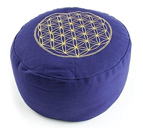Yogakissen Meditationskissen rund mit Blume des Lebens 30 x 15 cm, Bezug aus Baumwolle lila abnehmbar gefüllt mit Buchweizenspelz, Sitzkissen Yoga Kissen Bolster Jogakissen