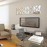 Demiawaking DIY 28Pcs 3D Spiegel Aufkleber Acryl Wandsticker fuer Haus