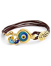 Bling Jewelry Gold Plated .925 Silver Evil Eye Charm Leather Bracelet 7in