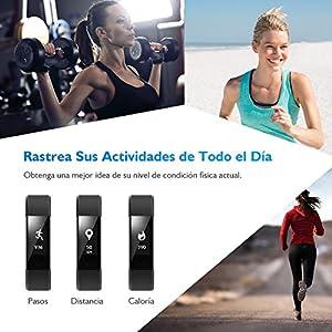 Pulsera de Actividad Pulsómetro Impermeable IP67 Pulsera Inteligente con Monitor de Ritmo Cardíaco Monitor de Actividad Podómetro Monitor de Calorías y Sueño Fitness Tracker Pulsera Bluetooth Móvil