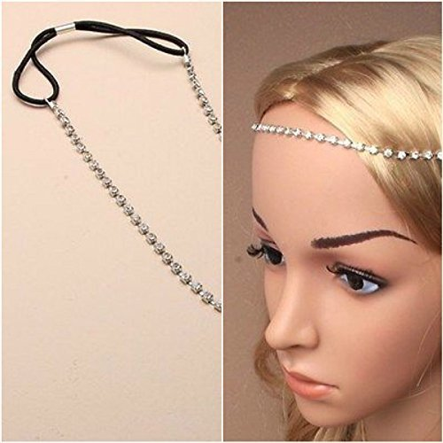 BROWBAND HEADBAND 1 ROW DIAMANTE CRYSTALS WEDDINGS FESTIVALS HAIR JEWELLERY by Generic