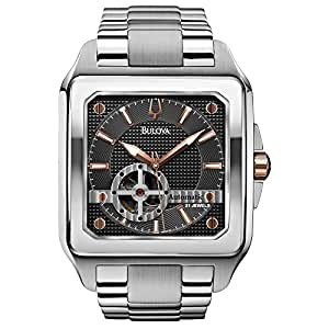 Bulova Automatic Men's Watch with Grey Dial Analogue Display and Silver Stainless Steel Bracelet 98A132