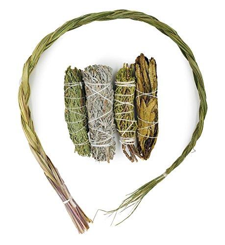 Alternative Phantasie Probe Räucherwerk Bundle. Inklusive Zeder, Wacholder, Yerba Santa, Blau Salbei, und Sweetgrass (Salbei Sweetgrass Zeder)