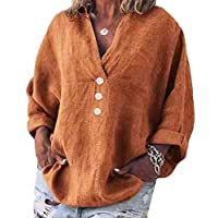 GRMO Women Buttons Plus Size Solid Loose Long Sleeve Cotton Linen V-Neck T-Shirt Top Blouse 1 5XL