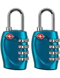 midwec 2pcs 4-dial TSA candado de seguridad combinación código candado para maleta equipaje de viaje (negro)