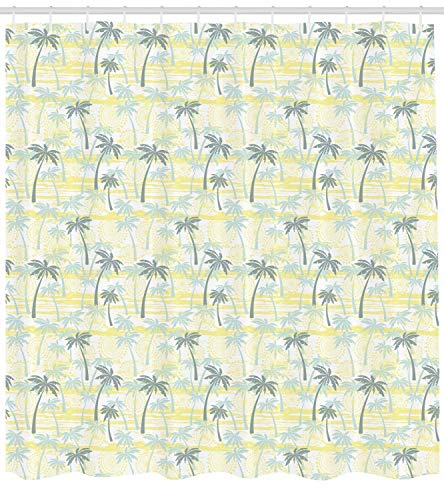 tgyew Palm Tree Shower Curtain, Sunny Summer at The Hawaii Beach Ornament in Grunge Style, Cloth Fabric Bathroom Decor Set with Hooks, 72x72 inches, Sage Green Mint Green and Yellow (Decor Mint Room Green)