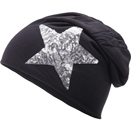 Compagno Star Slouch Beanie mit silbernem Pailletten-Stern Unisex Mütze, Farbe:Schwarz (Glatze-mütze)