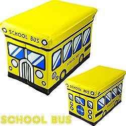 N&M Multipurpose Folding Stool & Storage Box Super Cute & Adorable - School Bus