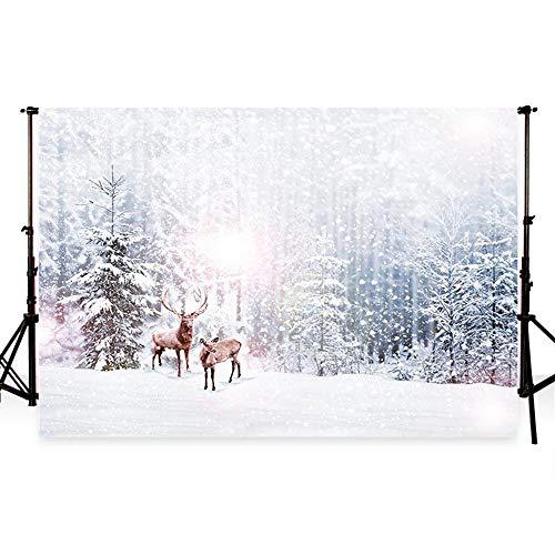 WaW 7x5Fuß Mikrofaser Winter Hintergrund Fotografie Schnee Hintergrund Szene Wald Hintergrund Foto Hintergrund Hochzeit Weihnachten Foto Portraitstudio (2.2x1.5m)