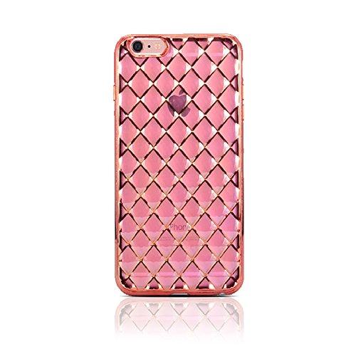 HULI Diamond Case Hülle Rosé für Apple iPhone 6 Plus / 6s Plus Smartphone - Diamant Handyhülle aus TPU Silikon Schutzhülle - sicherer Schutz Wabe Kaleidoskop in rosa (Iphone 6 Plus Case Louis Vuitton)