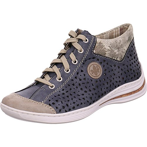 Rieker Damen M3548 Hohe Sneaker Grau (Steel/Jeans/Grau)