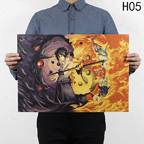 Shippuuden Poster, Anime Fanartikel Manga Poster | Uzumaki Naruto / Uchiha Madara / Uchiha Sasuke / Uchiha Obito | Wasserdicht Anti-Fade für Außenbereich / Garten / Badezimmer H05 (Madara Uchiha Kostüm)