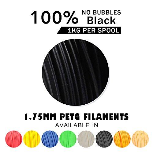 comprare on line SUNLU PETG 3D filament 1.75mm 1KG(2.2lb), PETG 3D Printer Filament, Dimensional Accuracy +/- 0.02 mm, 1 kg Spool, 1.75 mm, Black PETG prezzo