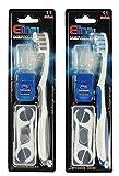COM-FOUR® 2er Dental-Set Handzahnbürste Blau/Grau Medium mit Zungereiniger inklusive 16x Zahnseide-Sticks, 2x 15m Zahnseide, 2x Schutzkappen