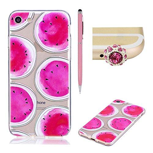 Coque Transparente pour iPhone 7 Plus / 8 Plus (5.5 pouces) - SKYXD Coque Souple TPU Silicone en Gel Case Premium Ultra-Light Ultra-Mince Skin de Protection Pare-Chocs Anti-Choc Bumper pour Apple iPho Pastèque