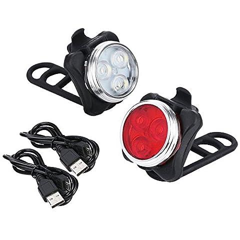 Vimmor Wiederaufladbare LED Fahrradlampe, LED Frontlicht Fahrrad Wasserdichte LED Scheinwerfer Rücklicht Kombinationen Für Radfahren, 2 USB-Kabel, 4 Licht-Modi, Wasserdicht IPX4 Fahrradleuchten (Vm Schalter)