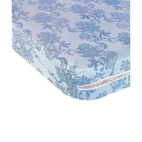 Housse de matelas intégrale, motifs bleu et blanc - Dimensions - 160 x 200