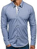 BOLF Herren Hemd Gemustert 100% Baumwolle Glo-Story 9658 Blau M [2B2]