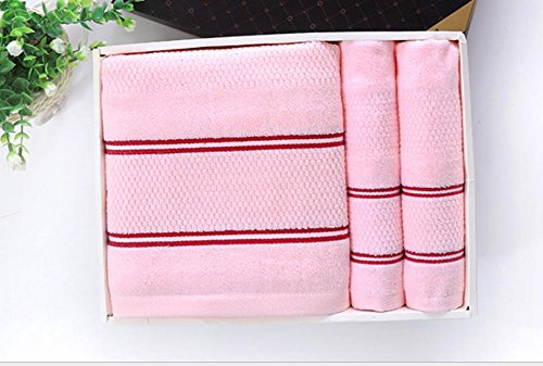 xxffh-asciugamano-32-azioni-a-nido-dape-asciugamano-di-cotone-pianura-tre-pezzi-regalo-pink