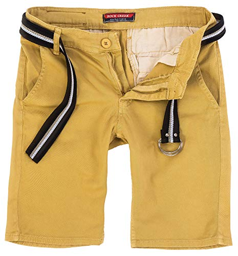 Rock Creek Herren Chino Shorts Hose Kurz Chinoshorts Inkl Gürtel Männer Sommer Bermuda Stretch Rc-2133 34 Camel - Reißverschluss Gürtel