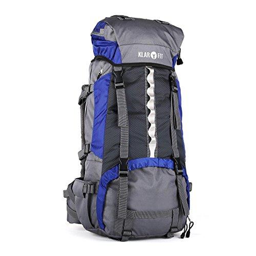 Klarfit Heyerdahl zaino da trekking (in nylon impermeabile, capacità 70 litri, cintura addominale, spalline X-transition, telo parapioggia) - blu - Casco Nero Design