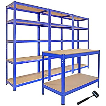 heavy duty storage shelves. Monster Racking Heavy Duty Garage Storage Shelves X3 U0026 Workbench Blue 90cm X 1825cm 45cm