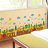 Stickers Muraux Potager Jardin Pvc Bande Dessinée Autocollants De Plinthe Pour Enfants Chambre...
