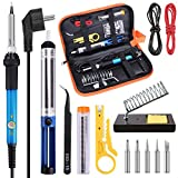 Lötkolben Set Elektronik, Tabiger Lötstation Set 220V 60W Soldering Iron mit Einstellbarer Temperatur 200-450°C, 5pcs Unterschiedliche Lötspitzen, Lötzinn, Entlötpumpe, Lötkolben Ständer wit PU Werkzeugkoffer